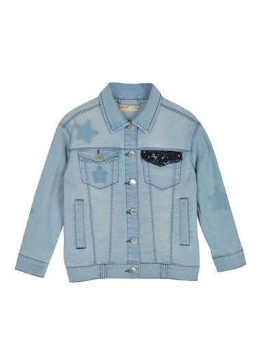Silversun Kids Kız Çocuk Açık Denim Cepleri Payet Detaylı Kot Ceket Mc 215328 Mavi